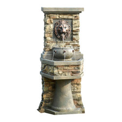 "Jeco - Lion Head Outdoor/Indoor Water Fountain - ""This classically styled fountain features a lion's head and two tiered design. Water cascades gently from one level to the next, creating a pleasant look and sound. This beautiful design is crafted of a stone look polyresin for a realistic feel."