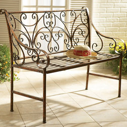 Scroll Garden Bench - Our classy yet classical garden bench showcases ornate scrolling patterns throughout the supportive backrest with lovely scrolled armrests alongside. Four feet in length and finished in a beautiful antique gold tone, this fashionable seating option allows you to sit back in style as you enjoy the fruits of your gardening labor.