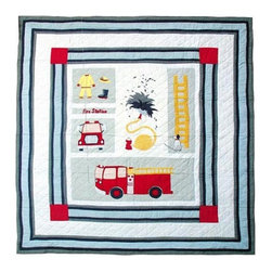 Patch Quilts - Fire Truck Twin Quilt - -Constructed of 100% Cotton  -Machine washable; gentle dry  -Made in India Patch Quilts - QTFRTR