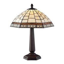 Z-Lite - Z-Lite Prairie Garden Tabl Lamp X-LT53-41Z - This table lamp uses clean geometric patterns colored in cream white and amber to create a timeless look. Finished in chestnut bronze, this fixture would be perfect in any part of the home.