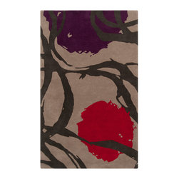 Surya - Harlequin Hand-tufted Tan Opaque Floral Wool Rug (5' x 8') - Hand-tufted in New Zealand wool,this rug features colors of gray,black,red. Its unique design makes this rug perfect for your home.
