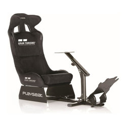 Playseat - Racing Game Chair - Durable black coated fully adjustable framework. High quality black alcantara with officially licensed Gran Turismo logo. Especially developed for Gran Turismo enthusiasts. Superior build quality, stability and comfort. Easy to assemble and store due to its patented foldable design. Plug & Play: Compatible with all steering wheels & pedal sets. Set up in 10 minutes, no tools needed. Compatible with all consoles.. The chair is coated with high quality black alcantara, which is an alternative for suede. The Playseat Gran Turismo is fully adjustable and has a unique, patented foldable system for easy and fast storage. With its stability and comfort, this chair is ready for the most intense races. 52 in. L x 20 in. W x 39 in. H (50 lbs)