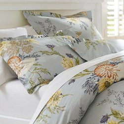 Nautilus Floral Organic Cotton Duvet Cover, Twin, Porcelain Blue - Tiger-striped nautilus shells nestle among the flora in this bedding's enchanting underwater garden. Woven of 100% organic cotton percale. Oeko-Tex certified. Duvet cover and sham reverse to the same design. Duvet cover has a button closure; sham has an envelope closure. Duvet cover, sham and insert sold separately. Machine wash. Imported.
