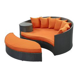 Modway Furniture - Modway Taiji Daybed in Espresso Orange - Daybed in Espresso Orange belongs to Taiji Collection by Modway Harmonize inverse elements with this radically pleasing daybed set. Seven plush throw pillows adorn Taiji's thick all weather orange cushions allowing for the splendorous blending of mediating elements. Find the key to attainment as you bask in a charged and unified landscape of expansiveness. Set Includes: One - Taiji Outdoor Wicker Patio Daybed One - Taiji Outdoor Wicker Patio Ottoman Seven - Taiji Outdoor Wicker Patio Throw Pillows Daybed (1), Ottoman (1)