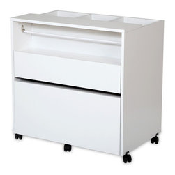 South Shore - Craft Storage Cabinet in Pure White Finish - Three open storage bins on top. A rod for holding rolls of ribbon and a shelf for storage baskets. Top storage drawer perfect for pencils, storage baskets and small tools. Bottom drawer can hold letter or legal size folders. Five multidirectional casters, two of them with built-in stops. Full-extension metal slides. All surfaces are laminated. Warranty: Five years limited. Made from laminated particle boards. Pure white finish. Made in Canada. Small drawer: 26.63 in. W x 13.63 in. D x 2.88 in. H. Large drawer: 26.63 in. W x 15.88 in. D x 8.88 in. H. Overall: 30 in. L x 19.5 in. W x 30 in. H (76 lbs.). Assembly InstructionsEvery artist needs a dedicated space  be it for DIY, sewing, or making jewelry. This mobile, versatile, and compact storage unit means you can keep all your creative materials in one place and take them with you, from room to room, without having to put them all away when youre not working on something. And its neutral finish and clean lines mean it also blends easily into the decor of any room in your home. So you can spend more time being creative and less time organizing your space!