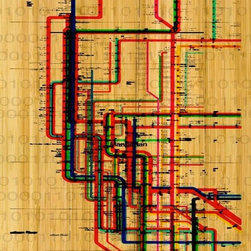 Parvez Taj - 'Subway, Bamboo' Wall Print - Take the A Train. This lively Parvez Taj rendition of the Manhattan subway system takes a subtly different track: It's printed on natural, ecofriendly bamboo and uses UV-cured inks. It's a softer approach to the urban jungle than you may be used to, but it still resonates with a vibrant city on the move.