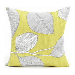 Blooming Home Decor - Mustard Yellow & White Leaf Throw Pillow Cover - - 100% cotton