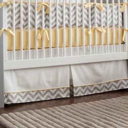 Gray and Yellow Zig Zag Crib Skirt - Solid Antique White crib skirt with 4-inch trim in White and Gray Zig Zag and accent in Solid Banana.  Made in USA by Carousel Designs.