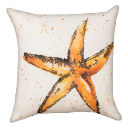 """Manual - Pair of """"Painted Sealife"""" Starfish 18 Inch Indoor / Outdoor Throw Pillows - This pair of 18 inch by 18 inch woven throw pillows adds a wonderful accent to your home or patio. The pillows have (No Suggestions) weatherproof exteriors, that resist both moisture and fading. The pillows have the same print on front and back, a watercolor painting of a starfish. They have 100% polyester stuffing. These pillows are crafted with pride in the Blue Ridge Mountains of North Carolina, and add a quality accent to your home. They make great gifts for sea life lovers."""
