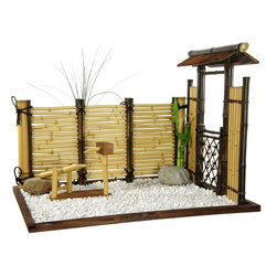 Oriental Furniture - Zen Bamboo Mini Garden - Indoor Zen bamboo garden. At over two feet wide and almost two feet tall, this authentic oriental decor brings a sense of tranquility to any room. Dark walnut wood garden bed fills with light white stones. Bamboo fence and roofed gate constructed using both dark stained and bleached genuine bamboo rods and twine. Larger rocks and faux-bamboo fountain replicate larger traditional Zen gardens. Add your own bamboo plants and display on an accent table, raised platform, or as a decorative corner piece.