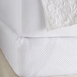 """Pine Cone Hill - Pine Cone Hill Full Box Spring Cover, 54"""" x 75"""" w/ 12"""" pocket - A latticework of tiny tone-on-tone diamonds spills over these box spring covers. Pre-washed cotton/polyester. Machine wash. Available in white or ivory; select color when ordering. From Pine Cone Hill®. Made in Portugal."""