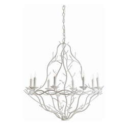 Arteriors - Durango Chandelier, White, Small - Twelve candle-like lights work together with iron branches to create a truly stunning chandelier. You'll admire the beauty of nature inside your home all year-round with this forest-inspired piece. Just imagine these branches elegantly illuminating your dining room or entryway.