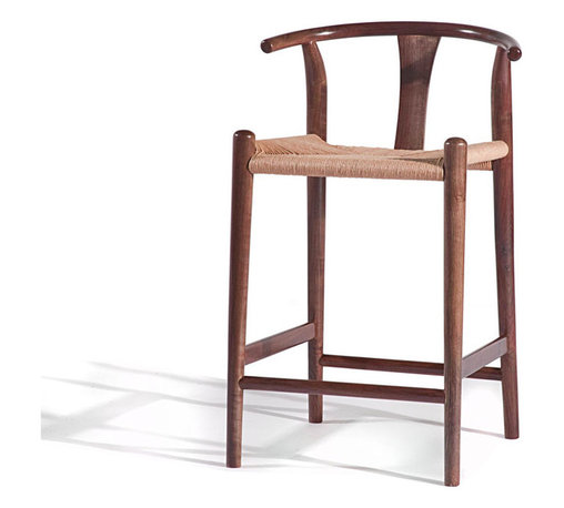 Gingko - Xian Counter Stool, Medium Walnut - You should rush to get this one. Reminiscent of Asian and classic midcentury designs, this stylish counter-height stool is handmade from solid walnut with a rush seat and comes in a choice of medium or natural finishes. When's the last time you saw a perch with this much panache?