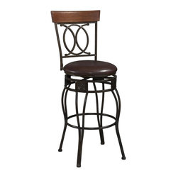Linon - O & X Back Swivel Stool in Matte Bronze Finis - Choose Seat Height: 24 in.A sturdy frame and attention to detail give this stool high marks.  Double-reinforced, curved legs provide solid support.  Iron frame is ultra-rugged yet subtly refined in style and taste.  Chocolate-finished vinyl seat is wear and stain-resistant  Stunning matte bronze finish adds luster and shine. Swivel seat. Wipe clean Brown PVC vinyl seat cover. The cushion is piled high for extra comfort. Wipe clean vinyl seat is pliable and resistant to everyday wear and tear. Highlighted with subtle curves and a distinctive O and X back. Made of Iron metal with PVC seat and Rubber wood cap. 275 lbs. Weight limit. Assembly required. 21 in. W x 20.25 in. D x 42 in. H, Seat height: 24 in.. 21 in. W x 20.25 in. D x 48 in. H, Seat height: 30 in.The elegance and unique style of this O & X Back Stool will carry throughout your kitchen, dining, or home pub area. This stool is a positively striking addition to your home.