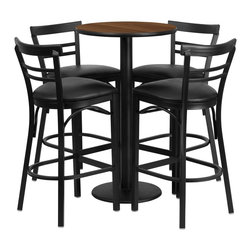 Flash Furniture - Flash Furniture Restaurant Furniture Table and Chairs X-GG-6301BRSR - 24'' Round Walnut Laminate Table Set with 4 Ladder Back Bar Stools - Black Vinyl Seat [RSRB1036-GG]