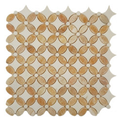 "Euro Glass - Honey Onyx & Thassos White  Flower Cream/Beige Kitchen Polished Stone - Sheet size:  13 1/8"" x 13 1/8""        Tile Shape:  Flower        Tiles per sheet:  192        Tile thickness:  3/8""        Grout Joints:  1/8""        Sheet Mount:  Mesh Backed        Stone tiles have natural variations therefore color may vary between sheets.       Sold by the sheet    -"