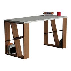 DECORTIE - HONEY WORKING DESK / OFFICE TABLE, White - Walnut - Sophistication...
