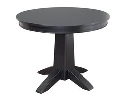 """Home Styles - Home Styles Arts and Crafts Round Dining Table in Black - Home Styles - Dining Tables - 518130 - Mission Styling at its best! The Arts and Crafts Round Dining Table is an economical solution for a variety of settings. Constructed of hardwood solids and engineered wood in a modern, multi-step Black finish, this table can be accessorized either formally or informally to create any desired atmosphere. The 16"""" leaf expands the table top from 42"""" to 58"""", providing enough space for two additional chairs."""