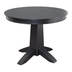 "Home Styles - Home Styles Arts and Crafts Round Dining Table in Black - Home Styles - Dining Tables - 518130 - Mission Styling at its best! The Arts and Crafts Round Dining Table is an economical solution for a variety of settings. Constructed of hardwood solids and engineered wood in a modern, multi-step Black finish, this table can be accessorized either formally or informally to create any desired atmosphere. The 16"" leaf expands the table top from 42"" to 58"", providing enough space for two additional chairs."