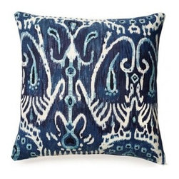 5 Surry Lane - Cerva Navy Blue Ikat Pillow - Bring the peacefulness of blue into your bedroom with this ikat-print navy blue pillow. You'll love the variations in the coloring that bring depth and definition to the pattern.