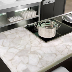 White Quartz Kitchen Island - A kitchen island and countertop done using Puro (white quartz) from our gemstone surfaces collection.