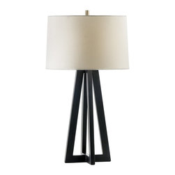 Nova Lighting - Nova Lighting Giza Modern / Contemporary Table Lamp X-5030101 - The pyramid shape is created using clean lines and angles, which creates a cleaner, visually open look to this Nova Lighting table lamp. From the Giza Collection, this contemporary table lamp starts with a white linen drum shade that gives way to the Dark Brown finished body.