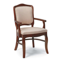 Fairfield Chair Company - Tight Seat and Back Occasional Arm Chair (Leather: Wine) - Fabric: Leather: Wine. A sturdy hardwood frame gives this traditional dining arm chair a handsome, regal look that's well suited to formal designs. Featuring an upholstered seat and back in your choice of fabric options, the chair will be a versatile way to update your interior decor. Standard HR-40 cushion with 2.8 density firm foam. Fabric Warranty: One year. Made from beachwood and fabric. Seat Height: 20 in.. Arm Height: 26 in.. Seat Depth: 21 in.. Inside Width: 21 in.. Overall: 27.5 in. W x 24 in. D x 37.5 in. HSooner or later our existing home furnishings lack luster and style and we yearn for updated styles, softer and more colorful fabrics. The upholstered chair collection by Fairfield allows more flexibility in these decorating choices to meet your individual needs. Whether it is refurnishing an existing den or updating a home office, browse through our wide variety of chairs and you'll soon notice that we have a style to suit all your needs.