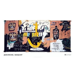 Jean Michel Basquiat Large Rare Provactive Art Print! - This is a RARE, Provocative, hard to find Fine Art Print is by the Artist JEAN MICHEL BASQUIAT, who burst on the high powered New York City Art Scene in the Eighties and rose quickly to high speed fame. This is one of the artists most provocative and controversial pieces. Stunning piece and a perfect collectible item. Basquiat Worked in joint collaboration with the likes of Andy Warhol which involved some 60 works, he had numerous successful one man shows and stared in a movie of his life directed by Julian Schnabel. This rare exciting print is great for collectors. Strong collectible print. It is of the finest Archival quality and is Highly desirable for collectors.