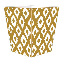 """Marye Kelley - Marye Kelley Gold Ikat Decoupage Wastebasket with Optional Tissue Box, 11"""" Squar - This is a handmade decoupage wastebasket with optional tissue box.  All items are handmade in the USA.  There are three different styles available.  There is the 12"""" Fluted Tin Design, the 11"""" Square Design with a flat top or the 11"""" Square design with a scalloped top.  Coordinating tissue boxes may also be made. Please note all items are custom made and may not be returned."""