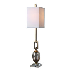 Copeland Mercury Glass Buffet Lamp - Speckled Mercury Glass Accented With Coffee Bronze Plated Details And A Crystal Foot. The Square Hardback Shade Is An Off-white Linen Fabric.