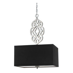 Candice Olson - Candice Olson Grill Transitional Pendant Light X-H4-1248 - Our additions to the Grill Series are created by Candice's design. Hand-cut laser metal and finished in silver/gold foil. The pendants are hard-wire only, and finished with a hard-back poly silk shade in black or brown. Due to handcrafting no two are alike. Silver & black shade.