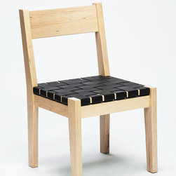 """Solid Maple Chair with Woven Leather Seat - Solid natural maple chair with woven 2"""" leather seat in """"Black"""". Chair is available in Cherry, Maple, Hickory, and Walnut. Please contact us for pricing and samples."""