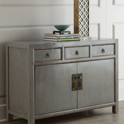 Horchow - Antique Lacquered Side Cabinet - Exclusively ours. Clean, simple lines mean this cabinet fits into a variety of decor styles. Shaped door pulls and a metal pin closure speak to its Asian origins. Made of elm and fir. New lacquer finish. Two doors and three drawers. Sizes will var...
