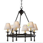 Harbor House Copper and 6 Fabric Shades Chandelier -