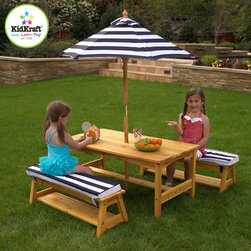 Kids Kraft Outdoor Table and Chair Set with Cushions and Navy Stripes - This is Kids Kraft Outdoor Table and Chair Set with Cushions and Navy Stripes. This table and chair set is perfect for eating meals, playing games, working on homework and more. Your kids will really love this chair. This outdoor furniture set is perfect for the summer months and will look great on any patio. This table and chair set have Matching canopy and bench cushions, Convenient storage below each bench. Its tall umbrella helps shield children from UV lights. Its weather-resistant wood Makes a great gift idea for families and friends on special occasion.