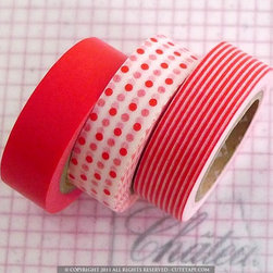 Japanese Paper Washi Tape Mix, Red by Pretty Tape - This trio of decorative tape makes any mundane desk task roughly a bajillion times more fun.