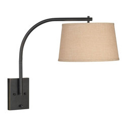 Kenroy Home - Sweep Wall Swing Arm Lamp - Oil Rubbed Bronze Finish. 13 in. Dia. Butterscotch Tapered Drum Shade. 1-150 Watt (M) Bulb. On/Off Backplate Switch. 21 in. H x 13 in. W x 23 in. ExtensionUnderstated design with a dynamic reach, this streamlined, extended, contemporary swing-arm is a design element that makes for ideal reading and task light.