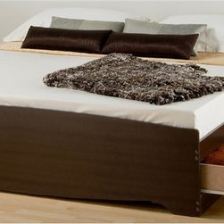 Prepac - King Platform Bed in Espresso Finish - Includes six drawers. Drawers for store any clothing, linens and blankets. Sleekly designed and practical. Sides glide on metal runners with built-in safety stops. Suitable for standard king sized mattresses. Finger pulls at the bottom of each drawer front for easy opening. Weight capacity: 500 lbs.. Warranty: Five years. Made from CARB-compliant, laminated composite woods. Made in North America. Drawer: 23.25 in. W x 18 in. D x 5 in. H. Overall: 81.5 in. L x 78.5 in. W x 18.75 in. HEnjoy floor space and storage with the King Mates Platform Storage Bed. With three drawers on each side, theres room for everyones stuff. Dont worry about a box spring, the slat support system needs only a mattress. Wood slats positioned length-wise distribute body weight evenly to ensure a good nights sleep.