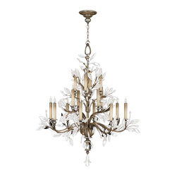 Fine Art Lamps - Crystal Laurel Silver Chandelier, 759440ST - Bring the romance and radiance of this fairytale fixture into your home. Faceted crystal leaves twine throughout antiqued silver or gold boughs for an effect that's positively brilliant.