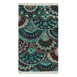 """Loloi Rugs - Loloi Rugs Aria Collection - Aqua / Multi, 1'-9"""" x 5' - Expressive and relaxed, stylish and fun. The Aria Collection from India has it all. Pretty paisley patterns, flourishing flowers, dreamy damasks and magical medallion designs are printed onto 100% recycled cotton Chindi for scatter rugs that are flirty and fashionable. Dressed in a palette of bold, saturated colors that take you from cool blues and pinks to warm spice tones and modern tropical hues, too, Aria rugs come in select scatter sizes that will accent choice spaces with flair."""