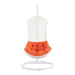 Modway Furniture - Modway Endow Swing Lounge Chair in White Orange - Swing Lounge Chair in White Orange belongs to Endow Collection by Modway Grasp inspiration from the splendor that surrounds you with this distinct modern piece. Endow bestows its recipient with an elevated seating position. Sit apart from the collective while welcoming unity with a plush all-weather orange cushion and receptive frame. Set Includes: One - Endow Swing Chair Stand One - The Endow Rattan Outdoor Wicker Patio Swing Chair Patio Stand (1), Swing Chair (1)