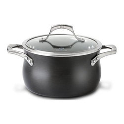 Calphalon - Calphalon Unison Sear Non Stick Covered Soup Pot 4 qt. - The specially textured Calphalon Unison SEAR Non Stick surface seals in flavor and is ideal for sauteed vegetables, braised beef, chops and cutlets and pan sauces. The wide flat-bottom surface is ideal for searing and low sides allow air to circulate so that foods remain crisp, yet high enough to contain juices and prevent splattering. Low sides allow air to circulate so that foods remain crisp, yet high enough to contain juices and prevent splattering. Heavy-gauge hard anodized aluminum. Spun or drawn construction provides superior conductivity and even, consistent heat. Will not chip, crack and warp. At last, Non Stick cookware that lets you cook like a professional. Free your culinary spirit, try a new recipe or improvise your own creation - Sear Non Stick makes it easy to express your culinary creativity. The specially textured Sear Non Stick surface has the searing capability that true chefs demand from professional-grade cookware, yet all the convenience of Non Stick. Cast, brushed stainless steel. Ergonomic, stay-cool handles. Triple-riveted for durable performance. Domed, tempered glass with stainless steel rim Oven safe up to 500 F degrees / 260 C degrees Cleaning. Before using for the first time, wash in warm, sudsy water. For hand washing, use a liquid dishwashing detergent such as Dawn and a sponge or soft bristle brush. For automatic dishwashing detergent, we recommended Cascade. To remove spots or stains from the hand anodized exterior use the recommended liquid dishwashing detergent and a non-abrasive pad or sponge. Allow to cool before cleaning. Never immerse a hot pan in cold water; doing so can cause irreparable warping. Dishwasher For the perfect pair, look for Calphalon Unison cookware with Slide Non Stick. Its revolutionary, ultra-smooth Slide Non Stick surface releases foods effortlessly, essential for creating tender omelettes and delicate sauces. Lifetime warranty..