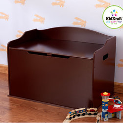 KidKraft - Austin Toy Box in Cherry - Our Austin Toy Box lets kids keep all of their favorite toys in one convenient place. This sturdy toy box was built to last and would fit right in with any room setting. Features: -Austin toy box.-Material: Wood.-Safety hinge on lid protects young fingers from getting pinched.-Doubles as a bench for additional seating.-Helps keep bedrooms tidy and organized.-Smart, sturdy construction.-Color: cherry.-Collection: Austin.-Distressed: No.Dimensions: -Overall Product Weight: 34.2 lbs.Assembly: -Packaged with detailed, step-by-step assembly instructions.