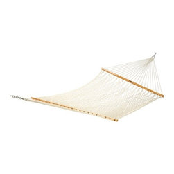 Pawleys Island Small Rope Hammock - Get tangled up in comfort when you relax on the Pawleys Island Small Rope Hammock. The classic look and delightful design of this hammock will make your yard pleasant and inviting. Constructed of a continuous strand of 3-ply super soft hand-woven rope, you'll feel wrapped in luxury anytime you use it. Solid oak spreader bars are beautifully finished for worry-free care. This hammock is sure to keep its looks for years, as it's fade and mildew resistant. Featuring enough room for two, it won't be hard to find someone who wants to share in the comfort. The zinc plated hardware is rust resistant, and hanging hardware is included. Treat yourself to a relaxation experience anytime you want.About Pawleys IslandIn 1889, the Original Pawleys Island Rope Hammock was created at Pawleys Island, one of the oldest summer resorts on the South Carolina coast. When river boat pilot Captain Joshua John Ward found the grass-filled mattresses on his boat too hot in the summer, he decided to make a cool and comfortable cotton rope hammock to use on his boat. After several uncomfortable designs, Cap'n Josh made a hammock using wooden spreaders without knots. This original design has proven to be so comfortable, that it's still used in Pawleys Island's popular hammocks, over a century later.Pawleys Island continues to use the highest quality materials when making their traditional all-cotton rope, spun polyester rope, and DuraCord hammocks. Their custom-designed stretcher bars are cut from seasoned Carolina red oak, then steamed, bent, drilled, sanded, and varnished to impart a comfortable sway to the hammock and to spread the rope evenly for optimum stability.The people of The Original Pawleys Island Rope Hammock are incredibly proud to be anything but new-fangled. Now 120 years old and counting, they continue to offer the very best of their past hoping it will help you better enjoy your future.