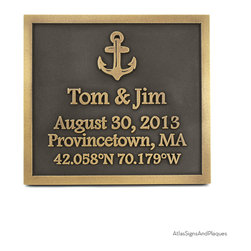 """Anchors Away Wedding Welcome Plaque 11"""" x 10"""" in Brass Patina - Combine a wedding, love of the sea, and a location, and you have described the perfect nautical themed wedding gift plaque. The Anchor's Away Wedding Plaque has every element necessary for the newly married maritime couple."""