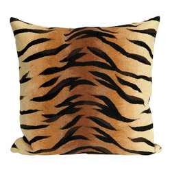 "Trans-Ocean Inc - Tiger Brown 12"" x 20"" Indoor Outdoor Pillow - The highly detailed painterly effect is achieved by Liora Mannes patented Lamontage process which combines hand crafted art with cutting edge technology. These pillows are made with 100% polyester microfiber for an extra soft hand, and a 100% Polyester Insert. Liora Manne's pillows are suitable for Indoors or Outdoors, are antimicrobial, have a removable cover with a zipper closure for easy-care, and are handwashable.; Material: 100% Polyester; Primary Color: Brown;  Secondary color: black; Pattern: Tiger; Dimensions: 20 inches length x 12 inches width; Construction: Hand Made; Care Instructions: Hand wash with mild detergent. Air dry flat. Do not use a hard bristle brush."
