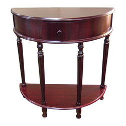 ORE International - Demilune Drawer End Table w Lower Shelf in Cherry Finish - Convenient crescent design. Storage drawer . Stylish and sleek . Turned legs. Strengthened with mortise and tenon joint reinforcement. Made from hardwood and wood composite. 27 in. W x 12.5 in. D x 28 in. H (20 lbs.)Dress up a hall or entryway with a touch of classic elegance.