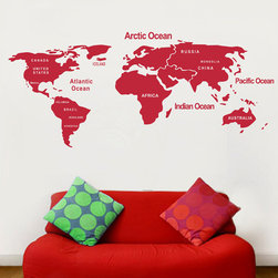 ColorfulHall Co., LTD - Map Wall Decals DIY World Map with Country, Red - Map Wall Decals DIY World Map with Country