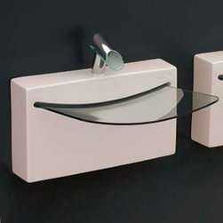 ArtCeram - ArtCeram | One Shot Crystall Wall Washbasin - Made in Italy by Art Ceram.A part of the One Shot Collection. The uniquely modern shape of the One Shot Crystall Wall Washbasin will create an instant focal point in luxury bathrooms. This fluid piece not only provides a striking addition to bathrooms undergoing a remodel, it also provides unwavering functionality for years to come. Made of a durable and stain resistant ceramic construction, this modern sink will withstand the test of daily use. Product Features: