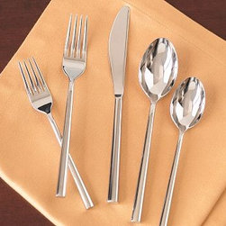 Luna Flatware, 20-Piece Set - East meets West in the design of our Luna Flatware's sleek handles, which have a square cross section with rounded corners, similar to Chinese chopsticks.Forged of 18/8 stainless steel that will stay sharp and bright for years.20-piece set includes four 5-piece place settings.Each 5-piece place setting includes salad fork, dinner fork, knife, soup spoon and teaspoon.Store / Internet Only.